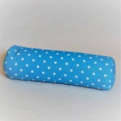Pohankový relaxační válec 15 x 50 cm modrý puntík