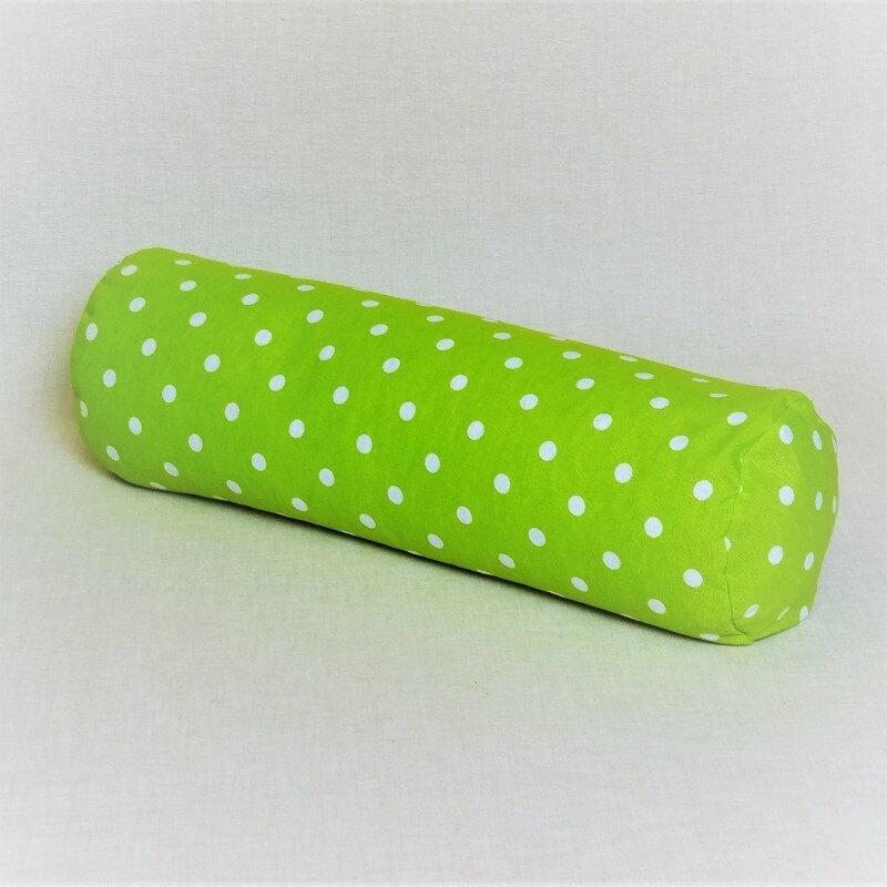 Pohánkový relaxačný valec 15 x 50 cm zelený puntík