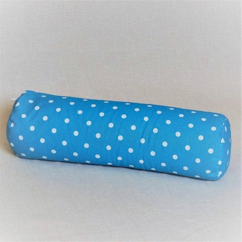 Pohánkový relaxačný valec 15 x 70 cm modrý puntík