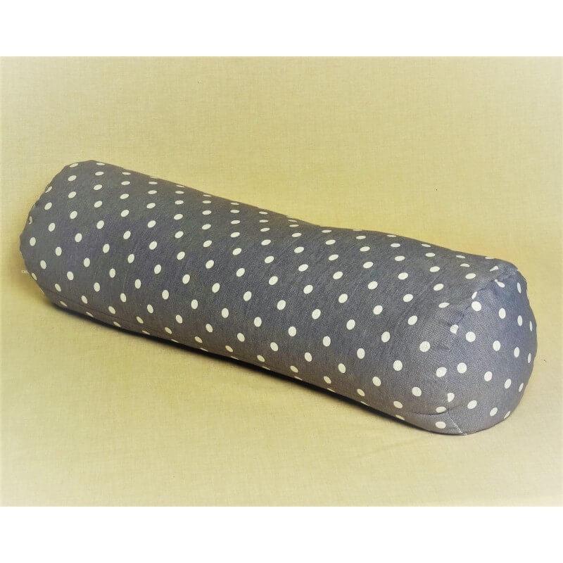 Pohankový relaxační válec 20 x 70 cm šedý puntík