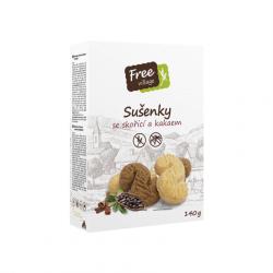 Bezlepkové sušenky se skořicí a kakaem 140 g